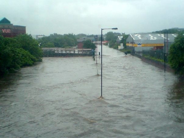 Meadowhall road flooded