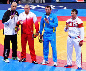 Medalists at the Men's 84 kg Greco Roman Wrestling.jpg