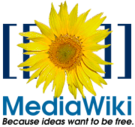 The MediaWiki logo. The brackets around the sunflower symbolise the way internal links are created when editing pages
