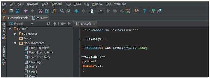 Mediawiki IDE based on mediawikifs and PhpStorm