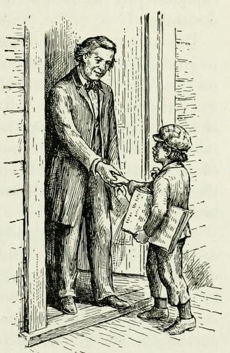 Ezra Meeker - Drawing of Meeker delivering a newspaper to Henry Ward Beecher
