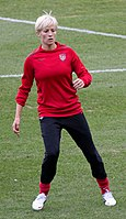 Rapinoe practicing with the United States women's national soccer team