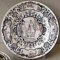 Meissen o augusta, 1725 circa, piatto con personaggi e animali.JPG