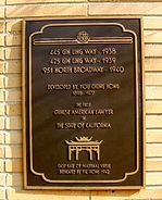 Memorial plaque to You Chung Hong, California lawyer, 2012