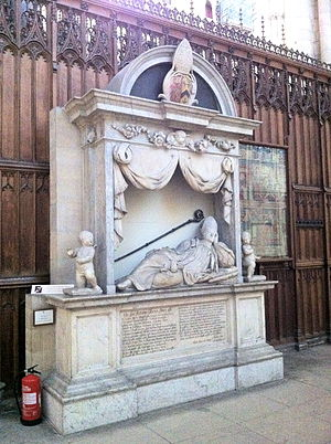 Richard Sterne (bishop) - Memorial to Archbishop Richard Sterne in the north choir aisle of York Minster by Grinling Gibbons.