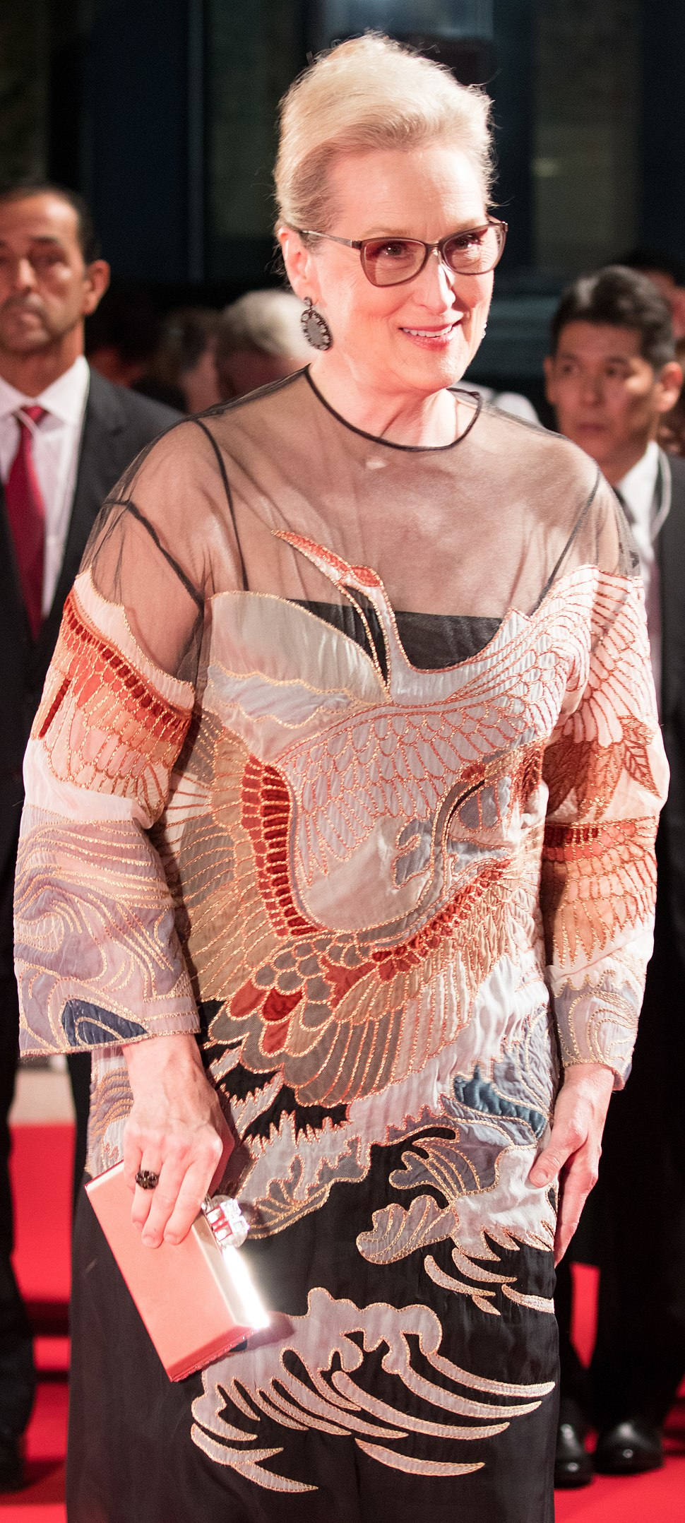 Meryl Streep from %22Florence Foster Jenkins%22 at Opening Ceremony of the Tokyo International Film Festival 2016 (32801846924) (cropped)