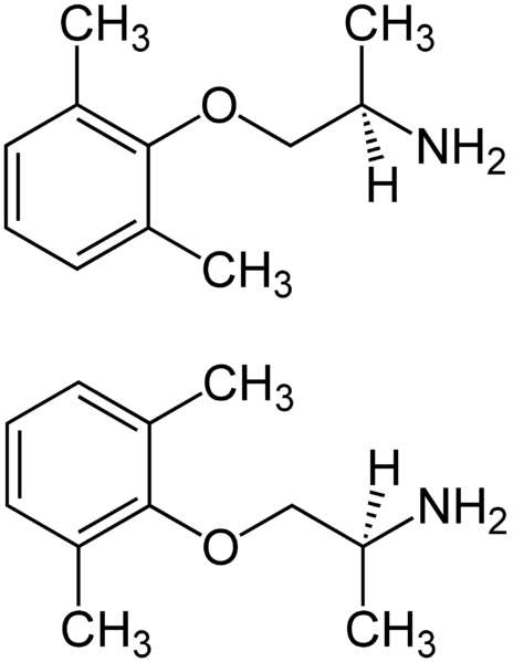 File:Mexiletine Structural Formulae of both Enantiomers.png