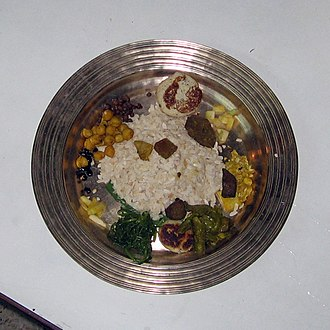 Mha Puja - Bronze dinner plate with initial servings