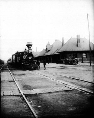 Michigan Central Railroad - Michigan Central train arriving in Kalamazoo, Michigan, 1887.