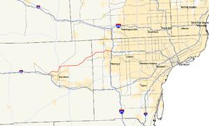 M-14 (Michigan highway) - Image: Michigan 14 map
