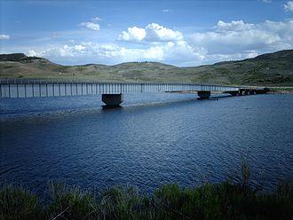 Blue Mesa Reservoir - The Middle Bridge crossing Blue Mesa Reservoir near Sapinero.