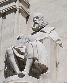 Cervantes-Skulptur in Madrid (Teil des Cervantes-Denkmals) (Quelle: Wikimedia)