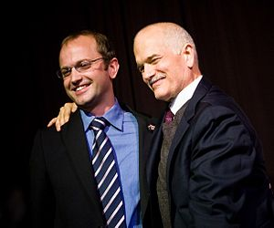 Mike Layton - Mike Layton at his campaign party with his father Jack Layton.
