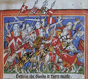 Henry VII, Holy Roman Emperor - The troops of emperor Henry VII defeat the Guelph faction of Guido della Torre in Milan