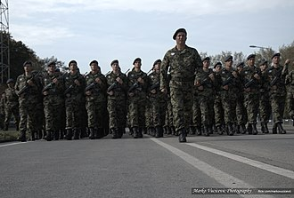 Belgrade Military Parade - Image: Military Parade Belgrade 2014 Serbian Soldiers with Russian Knights The Swifts (18530940294)