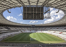 Stadium interior, photographed from behind one of the goals