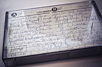 Mixtape - A handwritten track listing for a mixtape
