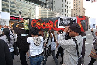 Fruitvale station - Protesters after the 2009 police shooting of Oscar Grant
