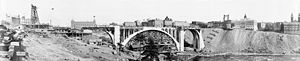 Falsework - Falsework centering in the center arch of Monroe Street Bridge, Spokane, Washington.  1911.