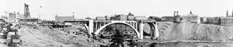 Falsework - Falsework centering in the center arch of Monroe Street Bridge, Spokane, Washington, 1911