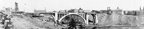 Falsework centering in the center arch of Monroe Street Bridge, Spokane, Washington. 1911.