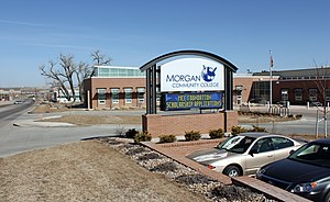 Morgan Community College - A view of the front entrance to the main campus in Fort Morgan. The view is to the north, and Interstate-76 can be seen in the distance.