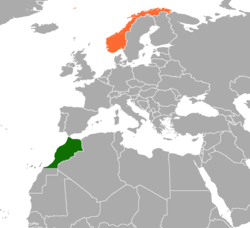 Map indicating locations of Morocco and Norway