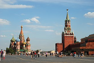 Red Square - Looking northwest from the State Historical Museum, with Saint Basil's Cathedral in the background