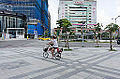 Mother and Child Riding Bicycle on Sidewalk of Songshan Road 20141004.jpg