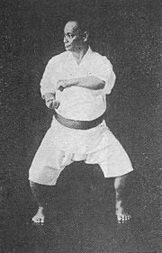 Choki Motobu in Naihanchi-dachi, one of the basic karate stances