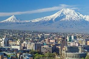Mount Ararat and the Yerevan skyline in spring
