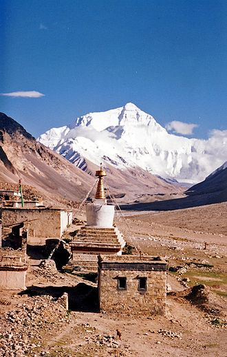 1924 British Mount Everest expedition - Rombuk Gompa, at end of valley the north face of Mount Everest