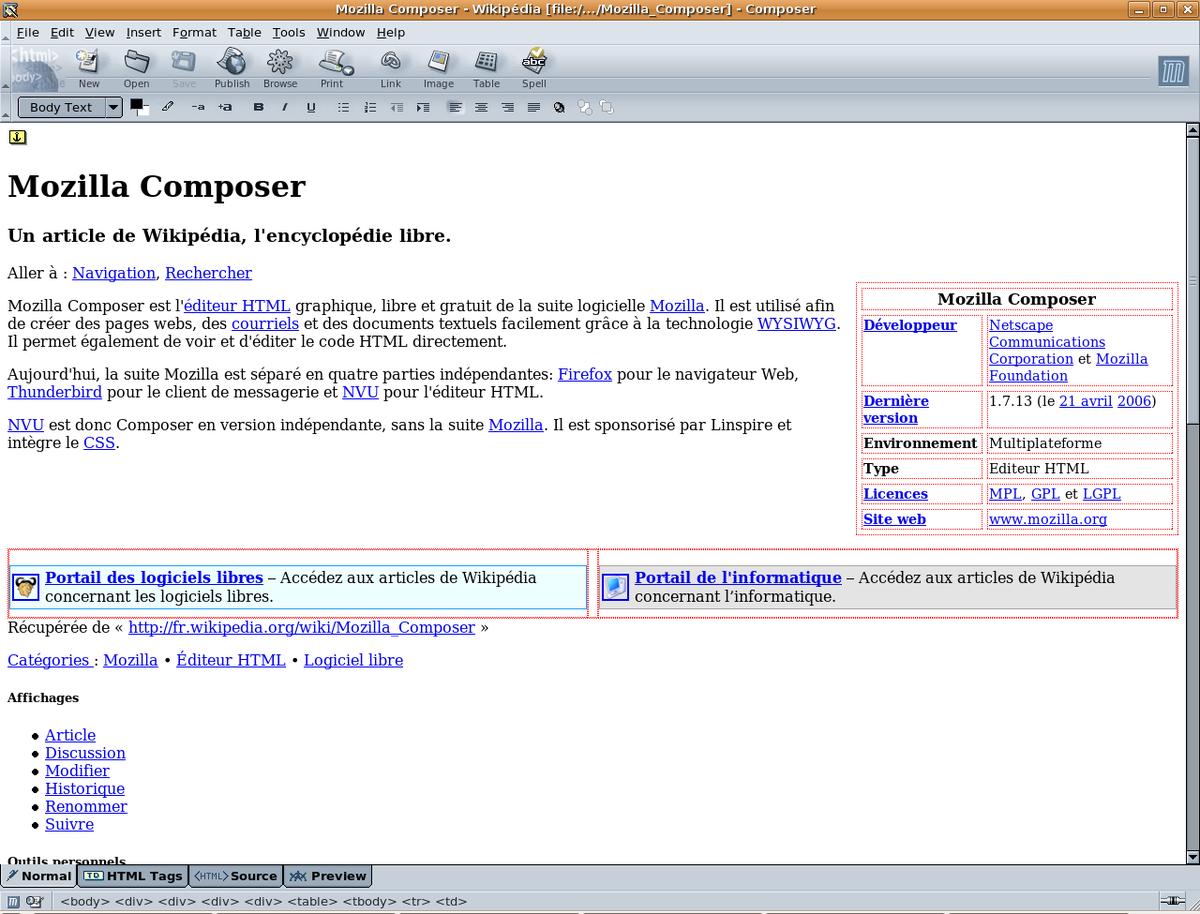 nvu editeur html