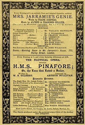 Mrs. Jarramie's Genie - Savoy Theatre programme for the original production, 1888