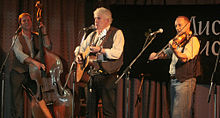 Photo of  Mucky Duck Bush Band at CD/Book Launch, Fairbrdge Festival, April 26 2014. L-R: John Perry, Don Blue, erik Kowarski