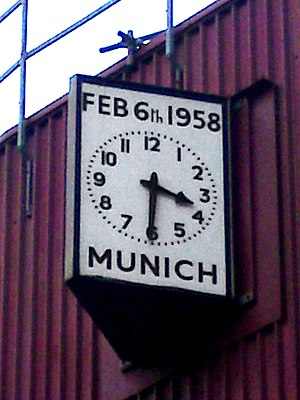 Munich air disaster - The Munich Clock, on the South-East corner of Old Trafford
