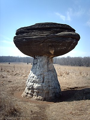 Mushroom Rock State Park - Pedestal formed by nonuniform weathering