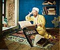 Muslim theologist reading the Qur'an, paitend in the Orientalist style by Osman Hamd Bey, Ottoman artist, intellectual and director of various museums in Instambul (48437993562).jpg