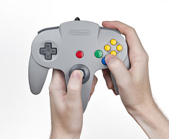 Nintendo 64 controller - One of several ways listed by Nintendo for the player to hold the controller.