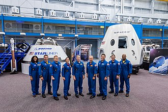 Commercial Crew Development - First group of nine astronauts selected for the NASA Commercial Crew Development program and the two selected spacecraft, the Boeing CST-100 Starliner (left) and SpaceX Crew Dragon