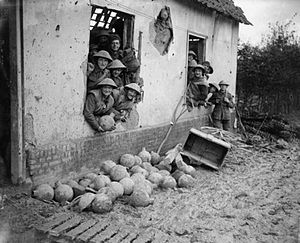 37th Division (United Kingdom) - Men of the 111th Brigade with trench mortar bombs at Beaumont-Hamel, France, late 1916.