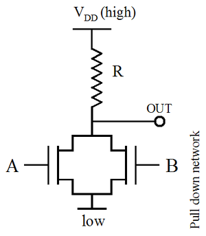 NMOS logic - Image: NMOS NOR WITH RESISTIVE LOAD