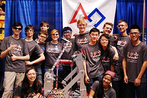 FIRST Robotics Competition - A New York City FIRST Robotics Team at a Greater DC Regional with their robot (Hunter College High School-3419)