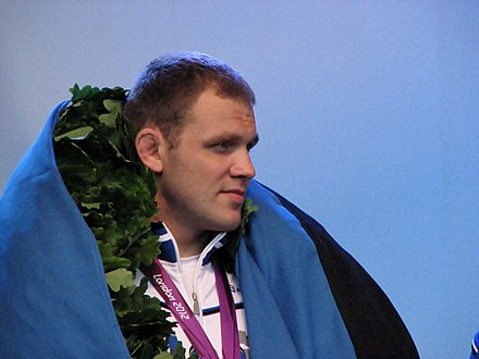 Wrestler Heiki Nabi at 2012 Summer Olympics, wrestling is Estonia's most successful Olympic sport. Nabi, Heiki.IMG 8732.JPG