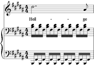 Art song - Bar five of Schubert's art song entitled Nacht und Träume. The vocal part, including the melody notes and the text, is in the top stave. The two staves below are the piano part.