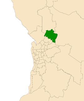 Map of Adelaide, South Australia with electoral district of Napier highlighted
