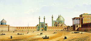 Naqsh-e Jahan Square - 19th century drawing of Naqsh-e Jahan Square, Isfahan; this drawing is the work of French architect, Xavier Pascal Coste, who traveled to Iran along with the French king's embassy to Persia in 1839.