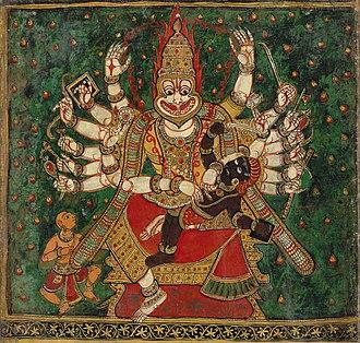 Hiranyakashipu - Narasimha slays Hiranyakashipu, as Prahlada watches