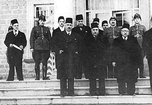 Nasib al-Bakri - Prime Minister Lutfi al-Haffar at the Sarail on 23 February 1939. Al-Bakri is standing in the front row, first from the left