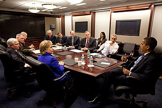 "United States National Security Council - President Barack Obama at an NSC Meeting in the Situation Room. Participants include Secretary of State Hillary Rodham Clinton, Defense Secretary Robert Gates, NSC Advisor Gen. James ""Jim"" Jones, Director of National Intelligence (DNI) Dennis Blair, Deputy National Security Advisor Tom Donilon, White House Counsel Greg Craig, CIA Director Leon Panetta, Vice Chairman of the Joint Chiefs of Staff Gen. James Cartwright, and White House Chief of Staff Rahm Emanuel"